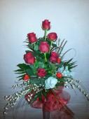 7 szál rózsa csokorban