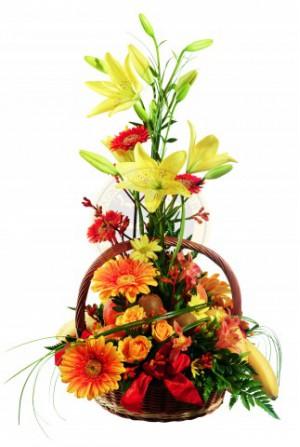 Gyümölcs és virágkosár